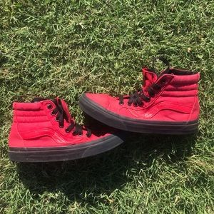 Red high top vans sneakers 6.5